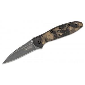 "Kershaw 1660DEB Ken Onion Leek Assisted Flipper Knife 3"" Blackwashed Plain Blade, Digital Brown Aluminum Handles on Sale"