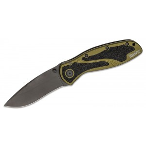 "Kershaw 1670OLBLK Ken Onion Blur Assisted Folding Knife 3-3/8"" Black Plain Blade, Olive Drab Aluminum Handles on Sale"
