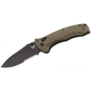 """Benchmade Turret Folding Knife 3.7"""" S30V Black Combo Blade, Olive Drab G10 Handles - 980SBK on Sale"""